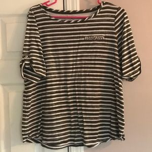 2/$10 Croft & Barrow Green/White Striped Tee